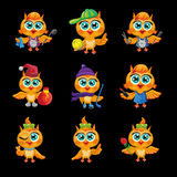 Vector set of cute owls. Cartoon characters  different professions. Stock Photography