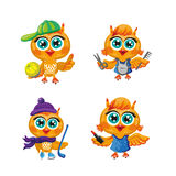 Vector set of cute owls. Cartoon characters  different professions. Royalty Free Stock Photos