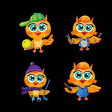 Vector set of cute owls. Cartoon characters  different professions. Stock Photos