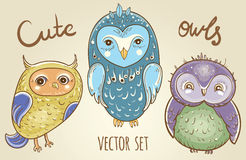 Vector set with cute owls Royalty Free Stock Photo