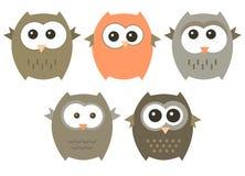 Vector set of cute owls Stock Photo
