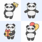 Vector set of cute panda characters stock illustration