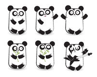 Vector set of cute pandas Stock Image