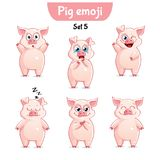 Vector set of cute pig characters. Set 5. Set kit collection sticker emoji emoticon emotion vector isolated illustration happy character sweet, cute pig Royalty Free Stock Photo