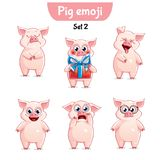 Vector set of cute pig characters. Set 2. Set kit collection sticker emoji emoticon emotion vector isolated illustration happy character sweet, cute pig Stock Photos