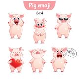 Vector set of cute pig characters. Set 4. Set kit collection sticker emoji emoticon emotion vector isolated illustration happy character sweet, cute pig Stock Photography
