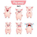 Vector set of cute pig characters. Set 3. Set kit collection sticker emoji emoticon emotion vector isolated illustration happy character sweet, cute pig Stock Images