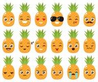 Vector set of cute pineapple emojis Stock Images