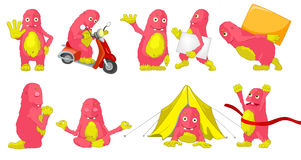 Vector set of cute pink monsters cartoon illustrations. Stock Photo