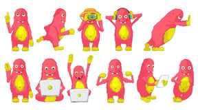 Vector set of cute pink monsters illustrations. Royalty Free Stock Image