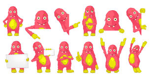Vector set of cute pink monsters illustrations. Royalty Free Stock Photos