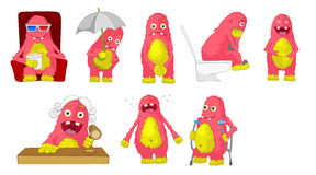 Vector set of cute pink monsters illustrations. Stock Images