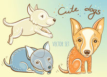 Vector set with cute puppies Royalty Free Stock Image