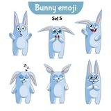 Vector set of cute rabbit characters. Set 5. Set kit collection sticker emoji emoticon emotion vector  illustration happy character sweet, cute white rabbit Stock Photo