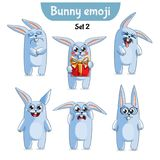 Vector set of cute rabbit characters. Set 2. Set kit collection sticker emoji emoticon emotion vector isolated illustration happy character sweet, cute white Stock Images