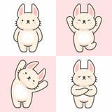 Vector set of cute rabbit characters stock illustration