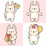 Vector set of cute rabbit characters royalty free illustration