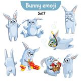 Vector set of cute rabbit characters. Set 7. Set kit collection sticker emoji emoticon emotion vector isolated illustration happy character sweet, cute white Stock Photos