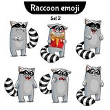 Vector set of cute raccoon characters. Set 2. Set kit collection sticker emoji emoticon emotion vector isolated illustration happy character sweet, cute raccoon Stock Photos
