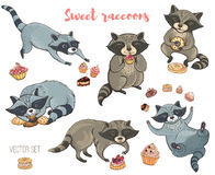 Vector set of cute raccoons with cakes Stock Images