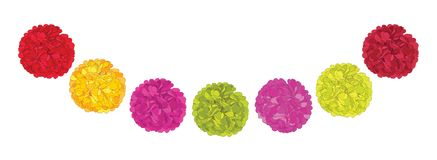 Vector Set of Cute Red, Pink, and Yellow Birthday Party Paper Pom Poms. Great for handmade cards, invitations, wallpaper. Packaging, nursery designs. Party royalty free illustration