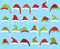 Vector Set of Cute Santa Claus or Christmas Hats Royalty Free Stock Photography
