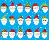 Vector Set of Cute Santa Claus Faces or Heads Royalty Free Stock Photos