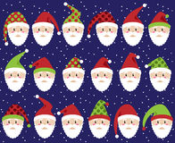Vector Set of Cute Santa Claus Faces or Heads Royalty Free Stock Photo