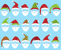 Vector Set of Cute Santa Claus Faces or Heads Royalty Free Stock Images