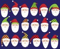 Vector Set of Cute Santa Claus Faces or Heads Stock Photos