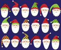 Vector Set of Cute Santa Claus Faces or Heads Stock Images