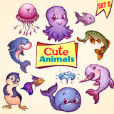 Vector set of cute sea animals. Dolphin, pike Royalty Free Stock Images