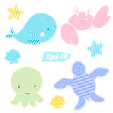 Vector set of cute sea animals in patchwork style. Whale, crab, octopus and tortoise in polka dots Royalty Free Stock Photos