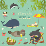 Vector set of cute sea animals on resort Royalty Free Stock Images