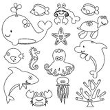 Vector Set of Cute Sea Creature Line Art Royalty Free Stock Photo
