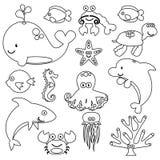 Vector Set of Cute Sea Creature Line Art. Vector Set of Cute Sea Creatures or Animals Line Art Royalty Free Stock Photo