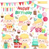 A Vector Set of Cute Sheep Celebrating Birthday with Cakes and Many Gifts. A Vector Set of Various Cute Sheep Celebrating Birthday with Cakes and Many Gifts stock illustration