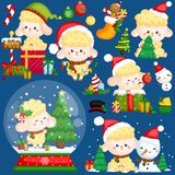 A Vector Set of Cute Sheep Wearing Christmas Stuffs and Decorations stock image
