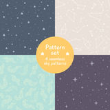 Vector set of cute simple seamless patterns. Stock Image
