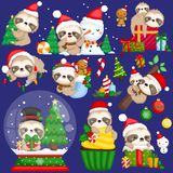 A Vector Set of Cute Sloth Wearing Christmas Stuffs and Decorations royalty free stock photography