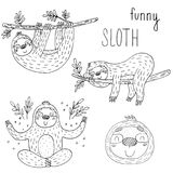 Vector set of cute sloths. funny vector illustrations. vector print Stock Photography