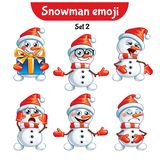 Vector set of cute snowman characters. Set 2 Stock Image