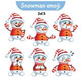 Vector set of cute snowman characters. Set 5 Stock Image