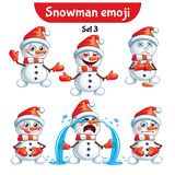 Vector set of cute snowman characters. Set 3 Royalty Free Stock Photos