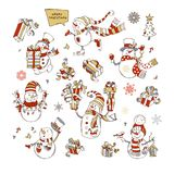 Vector set of cute snowmen. Snowman is skating. Snowman is singing. Snowmen with candy, gifts, baubles, bird or garland. Christmas tree and birdhouse vector illustration
