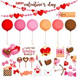 A Vector of Cute and Sweet Valentine Items for the Celebration stock image