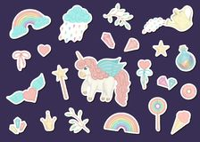 Vector set of cute watercolor style stickers with unicorns, rainbow, clouds, donuts, crown, crystals, hearts. Sweet girlish stock illustration