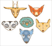 Vector set with cute wild animals Stock Photos