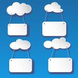 Vector set cutout white clouds with banners Royalty Free Stock Photos