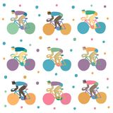 Vector set with cyclists Stock Image